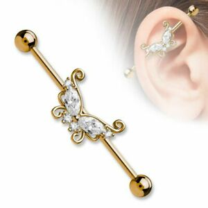Piercing Industrial Butterfly Stones White Gold Plated Pink