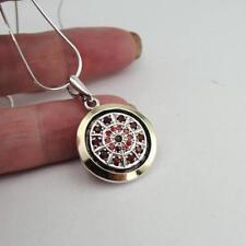 Hadar Designers Handmade 9k Yellow Gold 925 Silver Red Garnet Zircon Pendant (MS