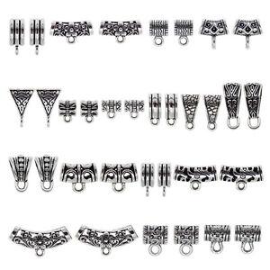 20PCS Silver Bail Tube Beads European Bracelet Pendant Spacer Bail Beads Charm