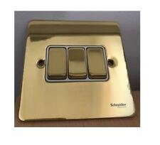 Schneider Gold Polished Brass Triple 3 Gang 2 Way Light Switch 10ax Gu1232wpb