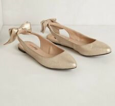 NEW Anthropologie Daisy Bow Slingback Shoes Size 6 Gold