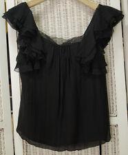 "REBECCA TAYLOR Silk Top 2 / 35"" Bust Black Ruffled Silk-Lined Summer Blouson Top"