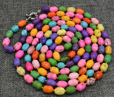 NEW 7x10mm Blue Multicolor Turkey Turquoise Gems Round Beads Necklace 50""