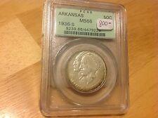 1936 S Arkansas Commemerative half dollar PCGS MS 66  BELOW WHOLESALE! OGH