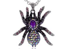 Lady Purple Czech Crystal Rhinestones Tarantula Spider Insect Pendant Necklace