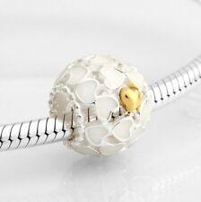 Sterling Silver Bead Charm Enamel & Gold Color Openwork Abundance of Love Heart