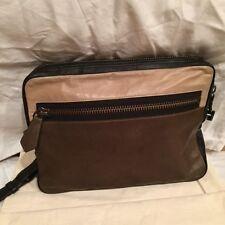 Reed Krakoff Color Block Olive Tan & Black Leather Clutch Handbag Pocket Bag