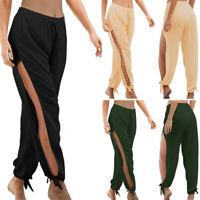 Women's Side Slit Elastic Wide Leg Pants Summer Beach Long Trousers Size: S-2XL