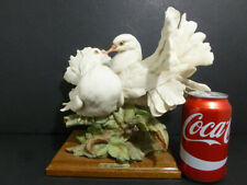 G.Amani Vintage Figurine Kissing Doves ( White ) W/ Wooden Stand Mkd Italy 7509