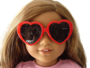 Red Heart Shaped Sunglasses made for American Girl Doll Clothes VALENTINE'S DAY