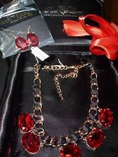 VINTAGE Jewels by Park Lane Necklace & Pierced Earring Set  garnet color  NEW