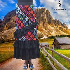 SHARON TANG Modest Apparel Long Multi-Color Ruffle Layer Skirt M ST124081008-13