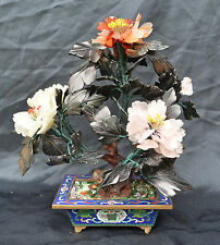 SUPERB VINTAGE CLOISONNE VASE POT WITH JADE AGATES ROSE QUARTZ  BONSAI TREE