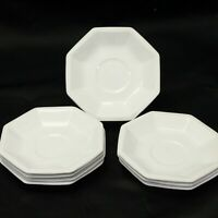 "Johnson Bros Heritage Ironstone Octagon Saucers White Beaded 5.5"" Lot of 8"