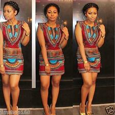 Womens Traditional African Print Dashiki Dress Party Clubwear Bodycon Mini Dress