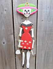 Hand Carved Made Wooden Wood Sugar Skull Candy Lady Skeleton Wind Chime Mobile