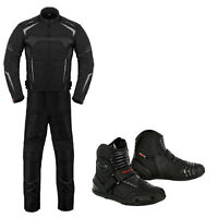 Motorbike Suit Jacket Trouser Leather Riding Boot Motorcycle Clothing Protection