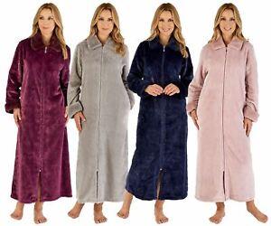 "Ladies Slenderella Luxury Faux Fur Collar 50"" Long Zip Through Dressing Gown"