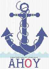 ANCHOR AHOY Nautical Color Graph Baby Afghan Pattern