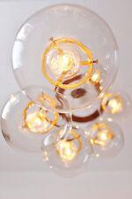 Globe Chandelier, Spiral Hanging Chandelier Light Fixture, 6 Clear Round Glass