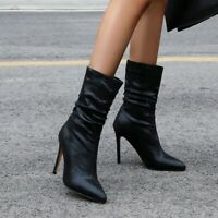 Sexy Women Mid-calf Boots High Heels Shiny Sequin Party Fashion Pointed Toe Shoe