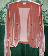 New Must Have Pink Velvet Open Front Short Western Stretch Jacket S-M-L