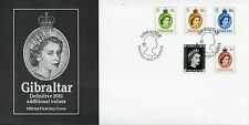 Gibraltar 2015 FDC Definitives Additional Values 5v Set Cover Queen Elizabeth II