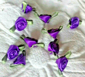10 Small Satin Ribbon Purple Coloured  rose buds  20mm wide