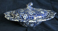 Vintage Crownford Calico Blue Chintz Covered Vegetable Bowl / Serving Dish