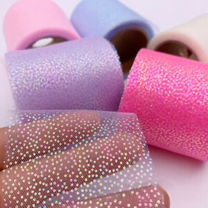5yards Mesh Sequins Ribbon DIY Hairbow Gift Bouquet Wedding Party Decor Sewing