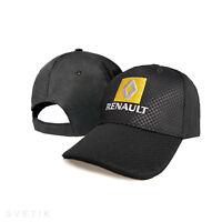 RENAULT CARBONE Noir Casquette Brodé Auto Logo Chapeau Baseball Cap Homme Femme