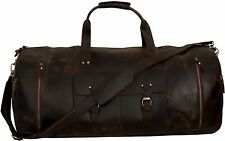 """New listing 32"""" Large Leather Duffel Men Travel Luggage Overnight Duffle Gym Sports Bag"""