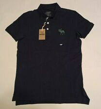 NWT New ABERCROMBIE & FITCH Men's Exploded Icon Stretch Polo Navy Blue Small