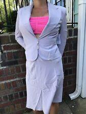 Victorias Secret VTG Brand New 100% Silk Lavender Suit Jacket Skirt Moda 12