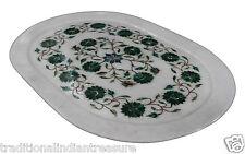 "11""x16"" White Marble Tray Malachite Inlay Floral Art Handmade Semi Precious Gift"