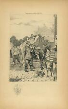 ANTIQUE MASTER LIFTING SLEEPING PAGE BOY HORSE SADDLE FLEUR DE LIS ETCHING PRINT