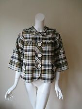 7 For All Mankind Plaid Button Front Hooded Swing Coat Jacket M