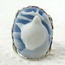 Calla Lily Cat Blue Cameo Ring .925 Sterling Silver Jewelry Resin Any Size