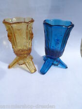 19211 2x kleine Glasvase Vase Art Deco Preßglas blau amber blue Faunskopf Faun