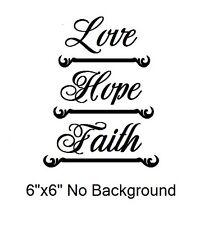 "Love Hope Faith decal sticker for 8"" Glass Block Night light"