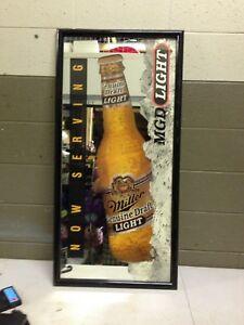 44x22 Miller Light Beer MGD Now Serving Bar Mirror Rare HTF (sh) (h31)