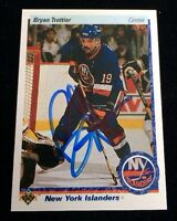 BRYAN TROTTIER 1990-91 UPPER DECK Autographed Signed AUTO HOCKEY Card 425 PENS