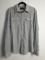 Scotch & Soda Regular Men's Long Sleeve Striped Casual Snap Button Shirt Size XL