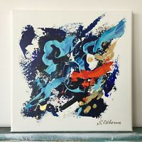 "Small Abstract Blue Gold Black Red Original Painting Acrylic Art 10""x10""x0.8"