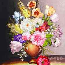 Ribbon Embroidery Kit Blooming Rose Peony and Vintage Vase Craft Kit RE2005