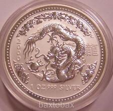 2000 AUSTRALIAN LUNAR YEAR OF THE DRAGON  1 oz.  SILVER COIN *BU* ~ Series 1