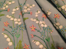 VINTAGE FAIRISTYTCH HAND EMBROIDERED TABLECLOTH ~ LILY OF THE VALLEY ~ EXQUISITE