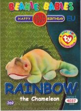 Ty S2 Beanie Card Birthday RAINBOW BLUE EUROPE  EUROPEAN VERSION