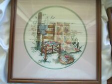 Paula Vaughan Completed Cross Stitch of Quilt Framed Matted With Glass
