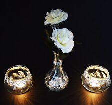 2 Pieces Diamante Tea Light Candle Holder With Vase & Cream Roses Wedding Decor